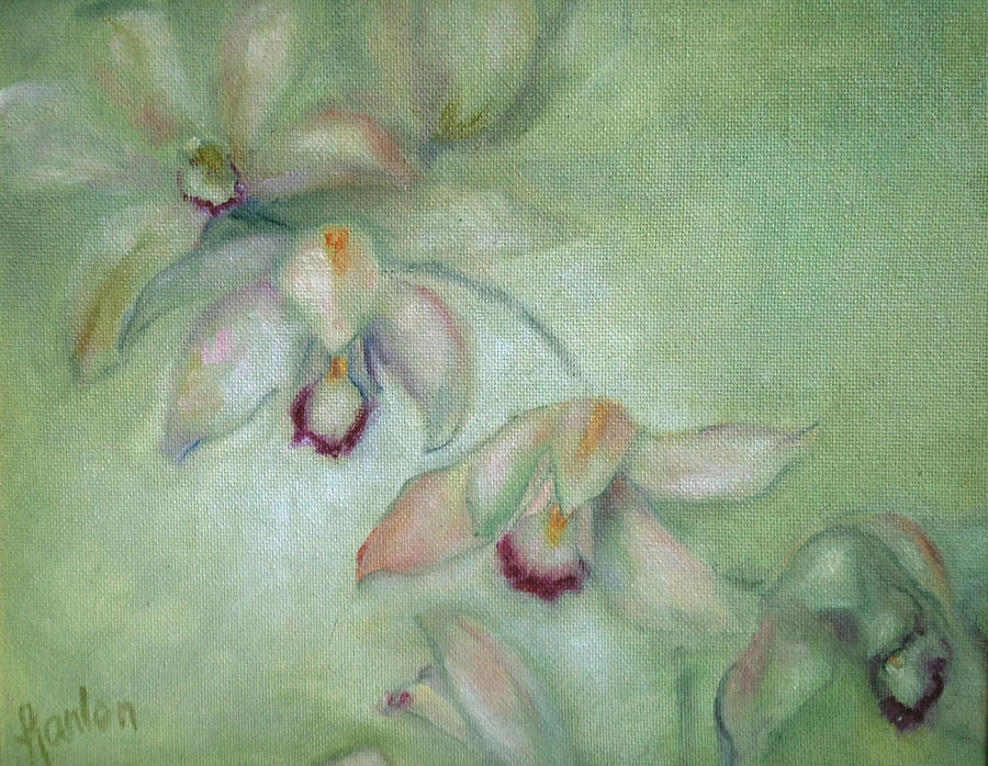 Cymbidium Painting - Celadon Cymbidiums by Susan Hanlon