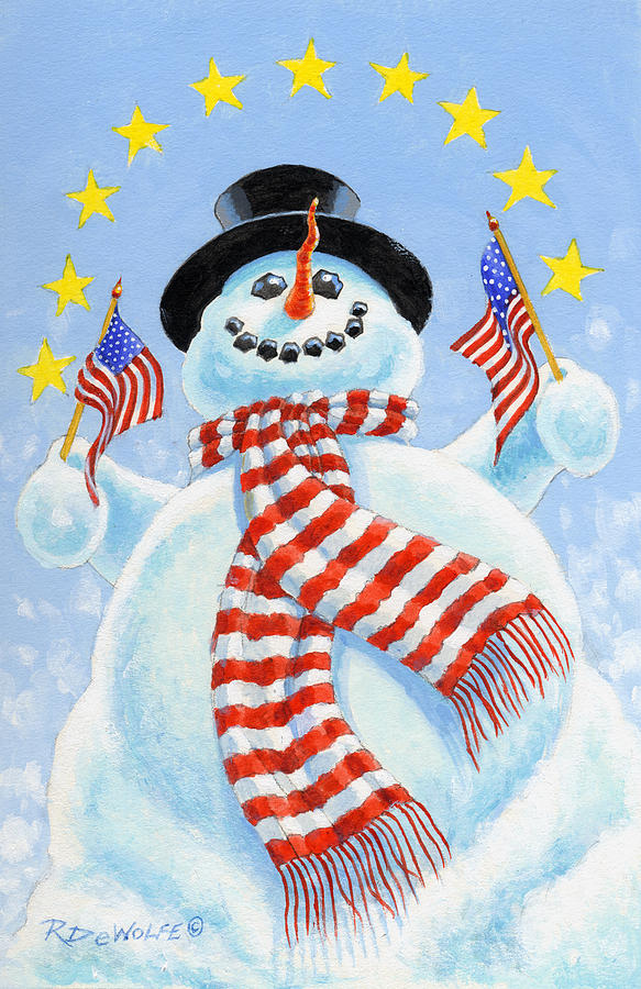 Snowman Painting - Celebrate by Richard De Wolfe