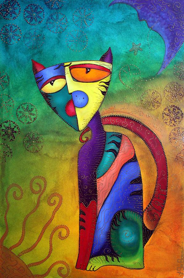 Cat Painting - Celestial Cat by Laura Barbosa