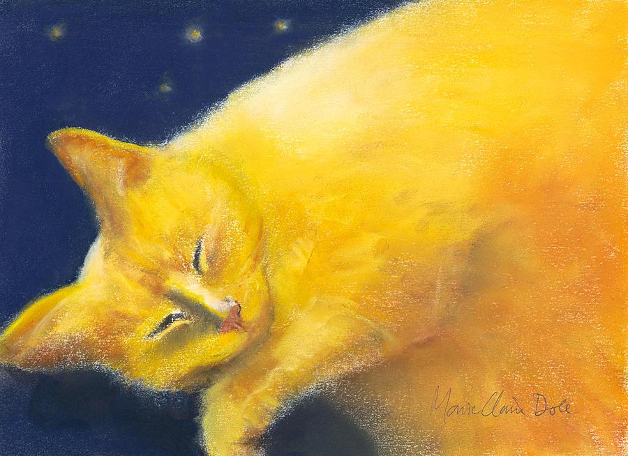 Pastel Portrait Painting - Celestial Cat by Marie-Claire Dole