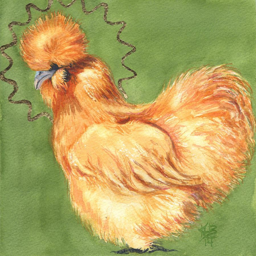 Chicken Silkie Painting - Celestial Chicken Sweet Potato by Kirsten Beitler