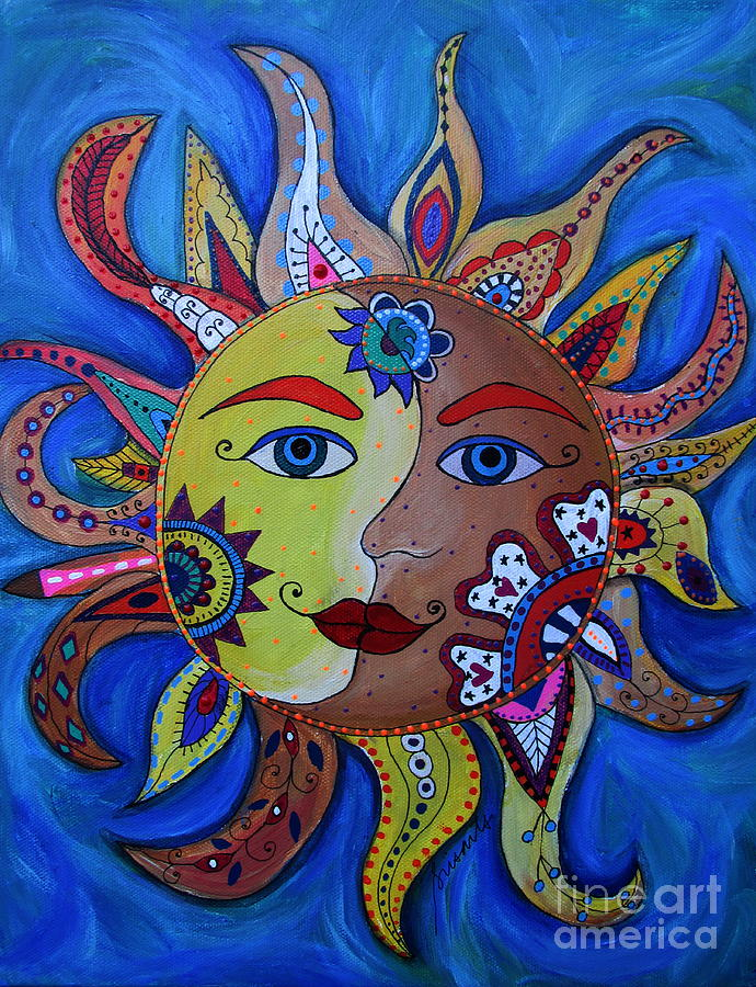 Sun And Moon Painting - Celestial Sun And Moon by Pristine Cartera ...