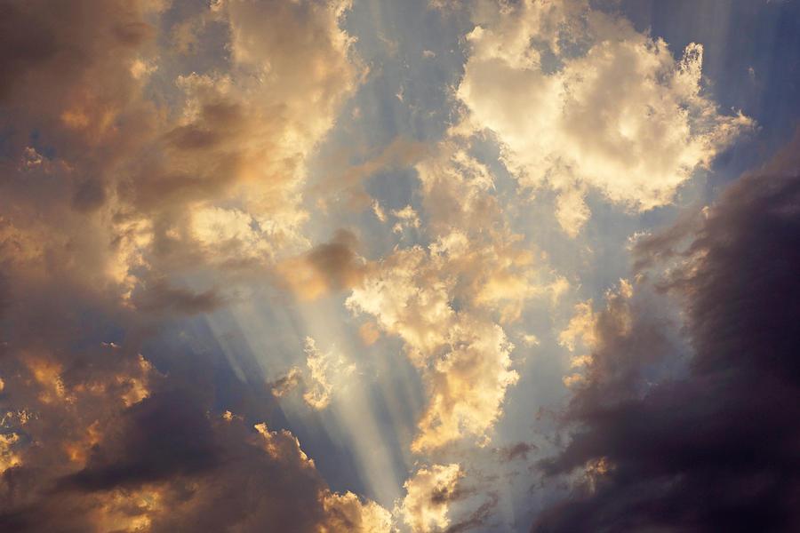 Celestial Twilight Sunset Art Prints Sunrays Photograph