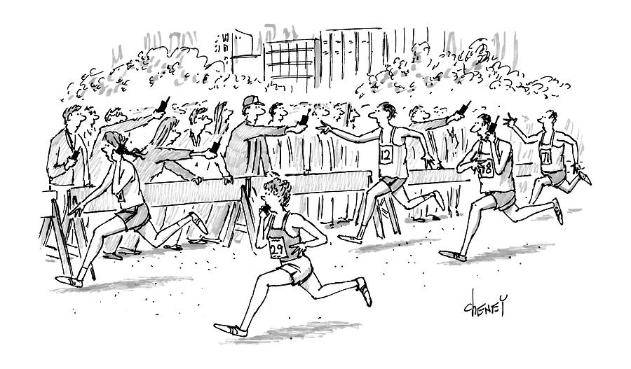 Cell Phone Marathon Drawing by Tom Cheney