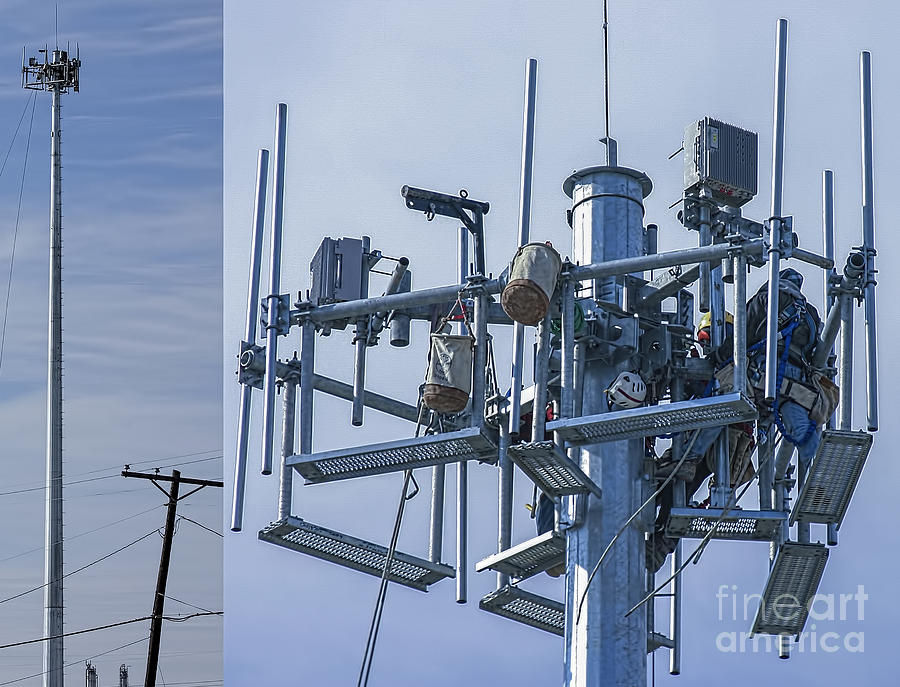 Cell Photograph - Cell Tower Workers by D Wallace