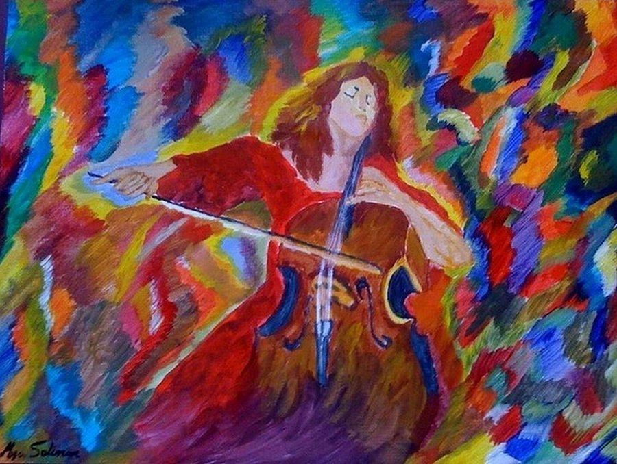 Cello Painting - Cello by Mya Soliman