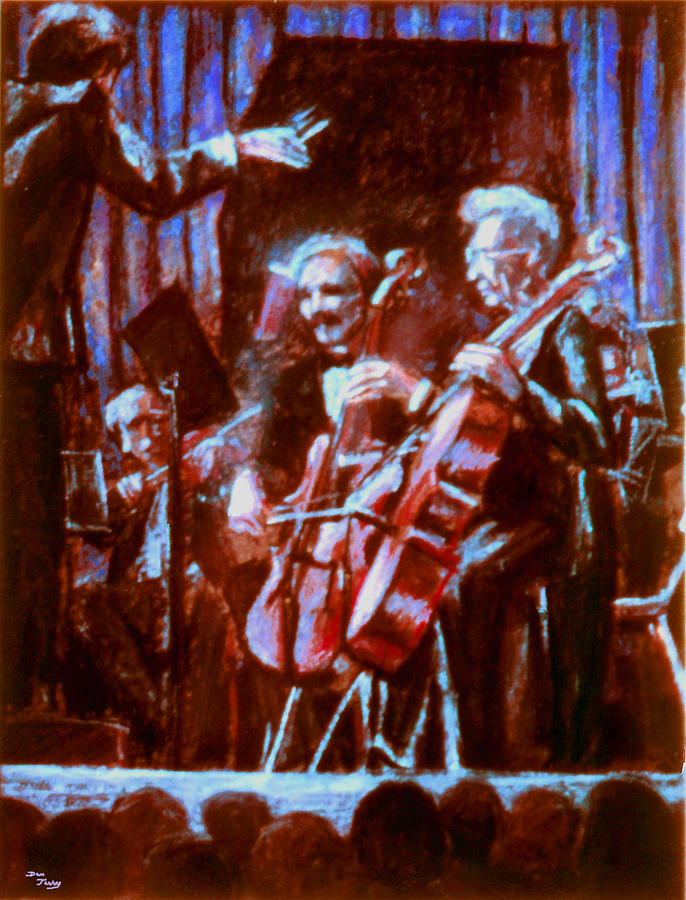 Cello Painting - Cello_concerto_sketch by Dan Terry