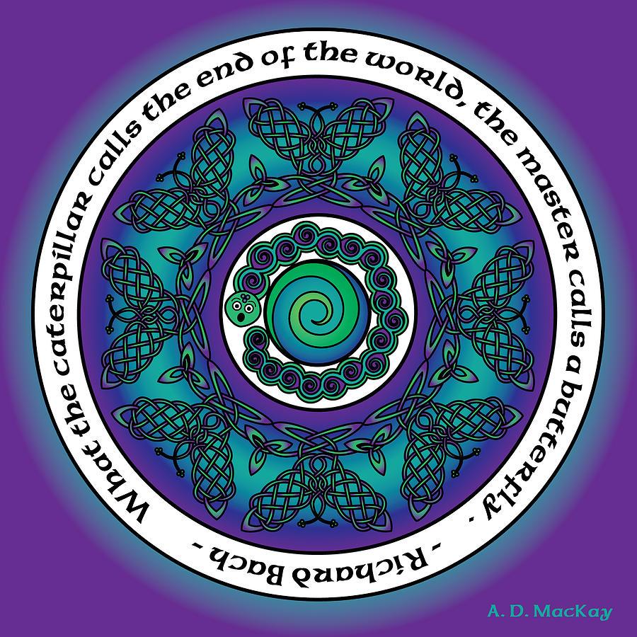Mandala Photograph - Celtic Butterfly Mandala by Celtic Artist Angela Dawn MacKay