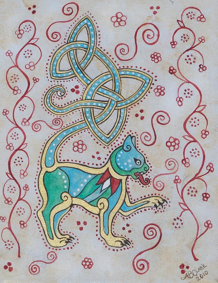 Celtic Painting - Celtic Cattus by Beth Clark-McDonal