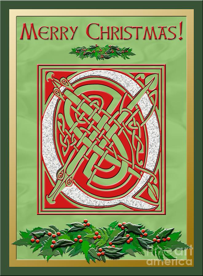 Monogram Digital Art - Celtic Christmas Q Initial by Melissa A Benson