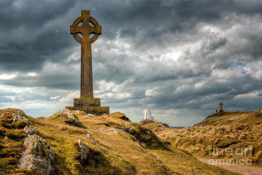 Lighthouse Photograph - Celtic Cross At Llanddwyn Island by Adrian Evans