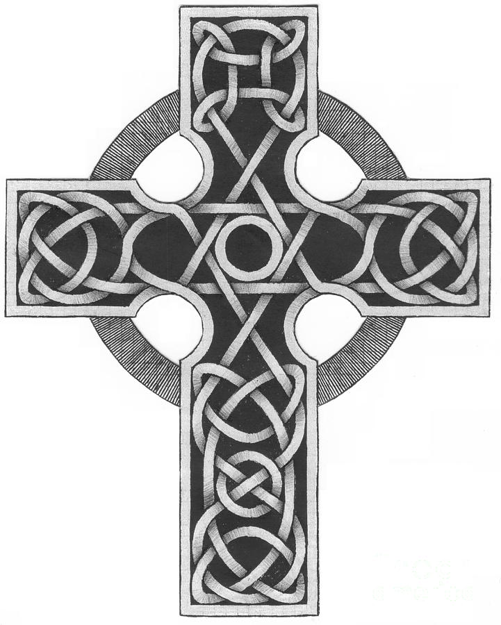 Celtic Mixed Media - Celtic Cross by Chris Tetreault
