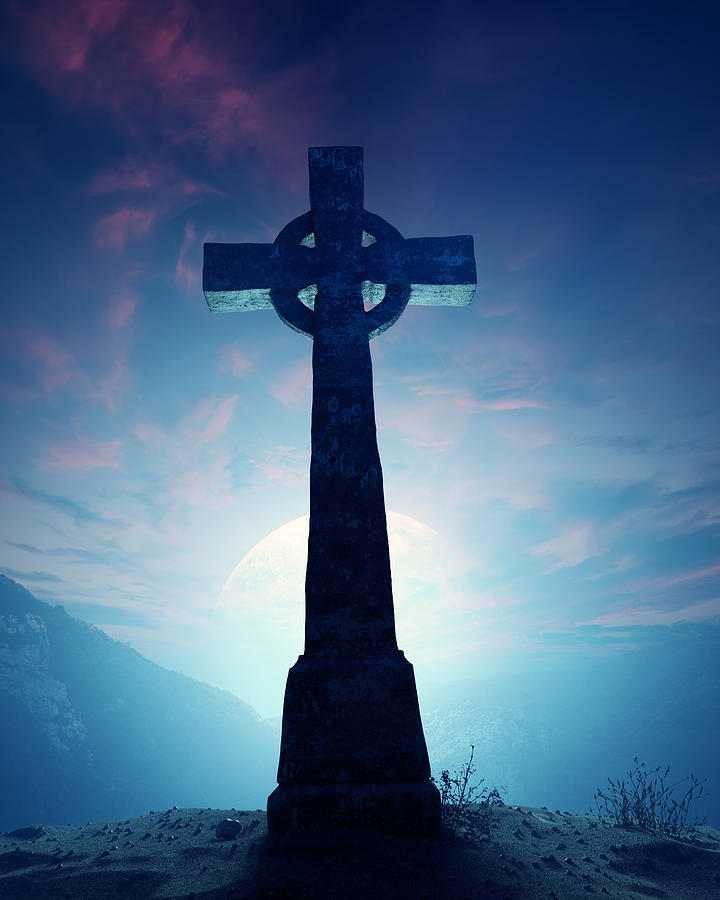 Cross Photograph - Celtic Cross with moon by Johan Swanepoel