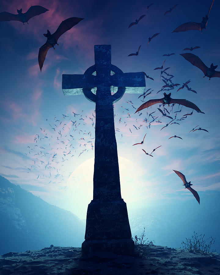 Cross Photograph - Celtic Cross With Swarm Of Bats by Johan Swanepoel