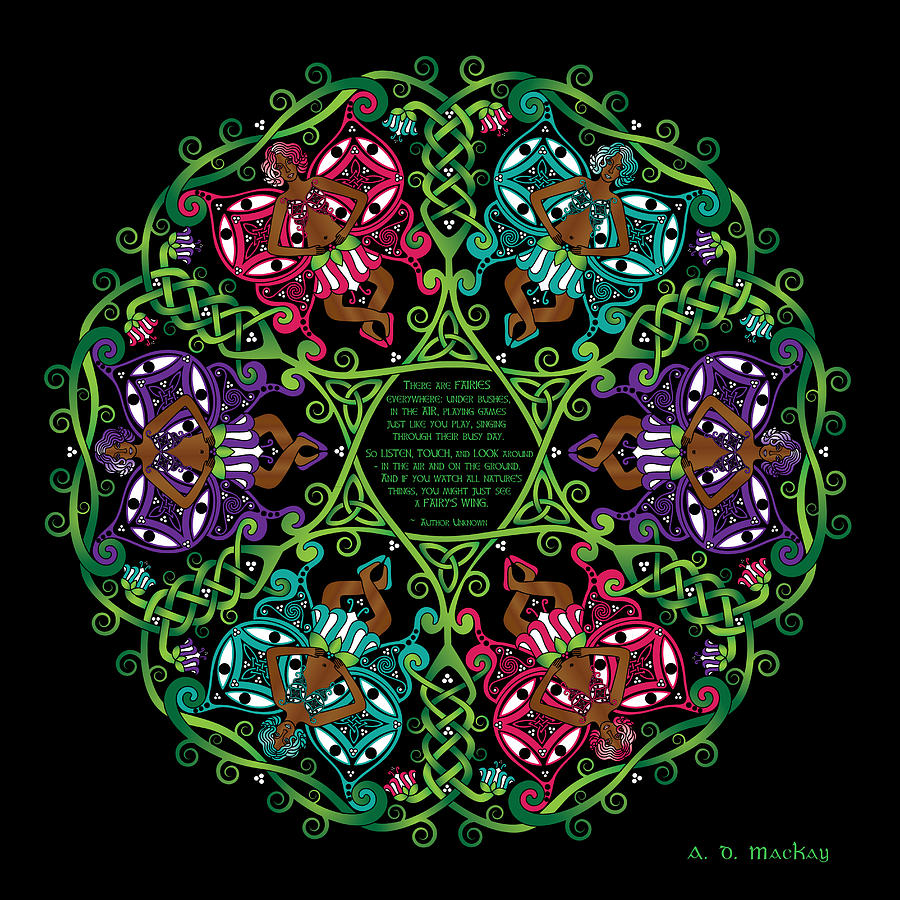 Celtic Knotwork Digital Art - Celtic Fairy Mandala by Celtic Artist Angela Dawn MacKay