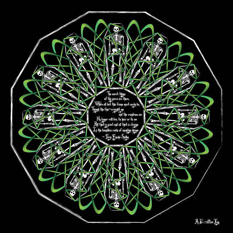 Skeletons Digital Art - Celtic Flower Of Death by Celtic Artist Angela Dawn MacKay
