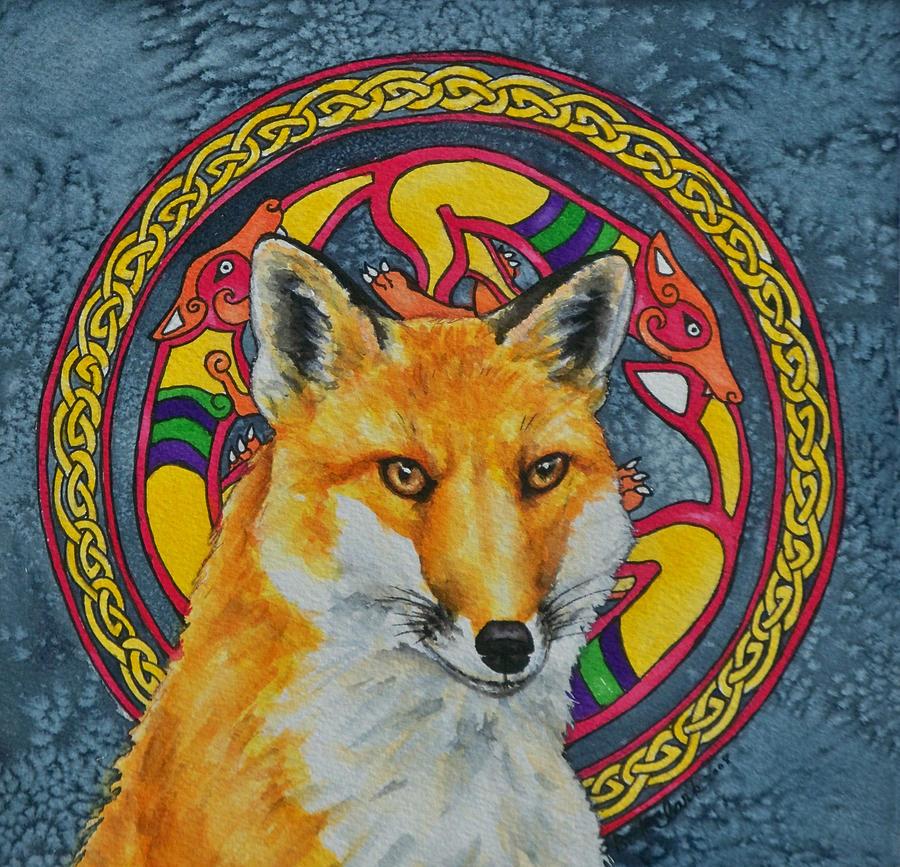 Celtic Painting - Celtic Fox by Beth Clark-McDonal