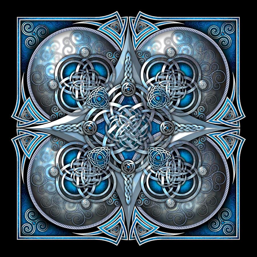 Celtic Photograph - Celtic Hearts - Blue And Silver by Ricky Barnes