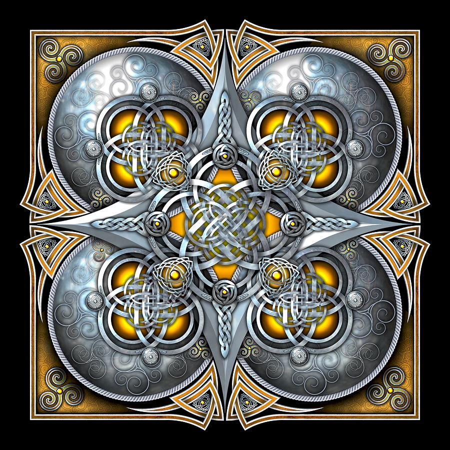 Celtic Photograph - Celtic Hearts - Gold And Silver by Richard Barnes