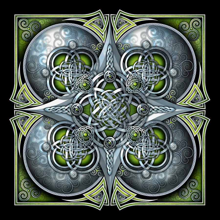 Celtic Photograph - Celtic Hearts - Green And Silver by Ricky Barnes