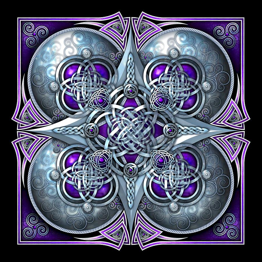 Celtic Photograph - Celtic Hearts - Purple And Silver by Richard Barnes