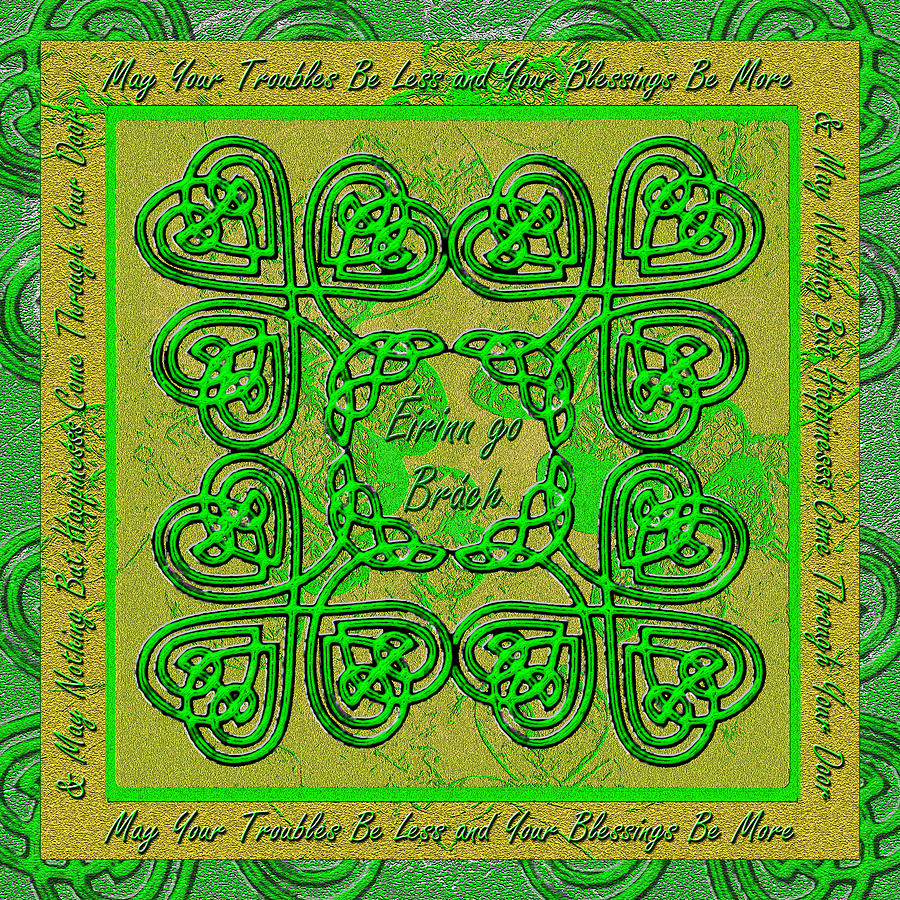 Celtic Irish Clover Home Blessing Digital Art
