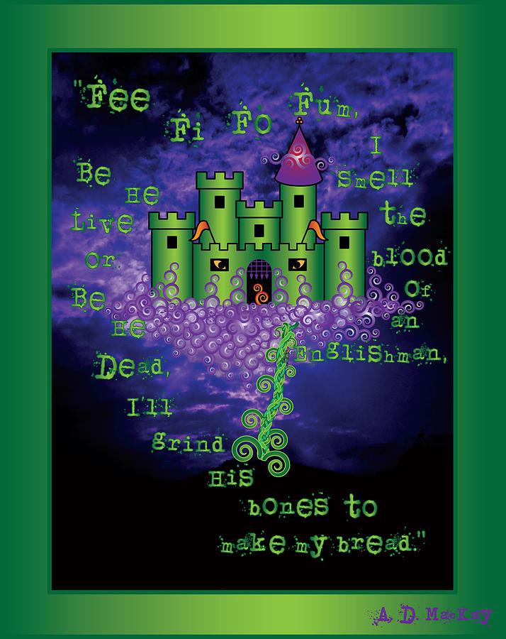 Castle Digital Art - Celtic Jack and the Beanstalk in Green by Celtic Artist Angela Dawn MacKay