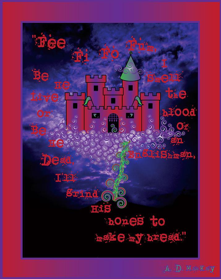 Castle Digital Art - Celtic Jack and the Beanstalk in Red by Celtic Artist Angela Dawn MacKay