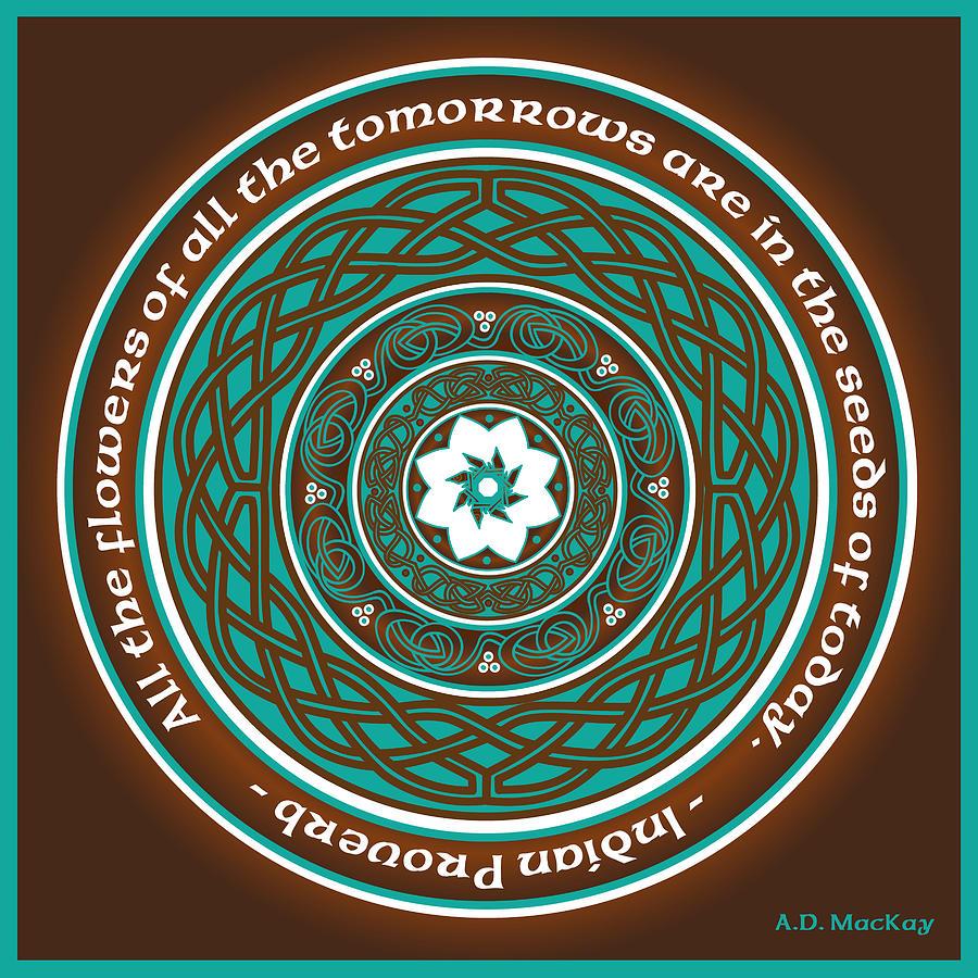 Knotwork Digital Art - Celtic Lotus Mandala by Celtic Artist Angela Dawn MacKay