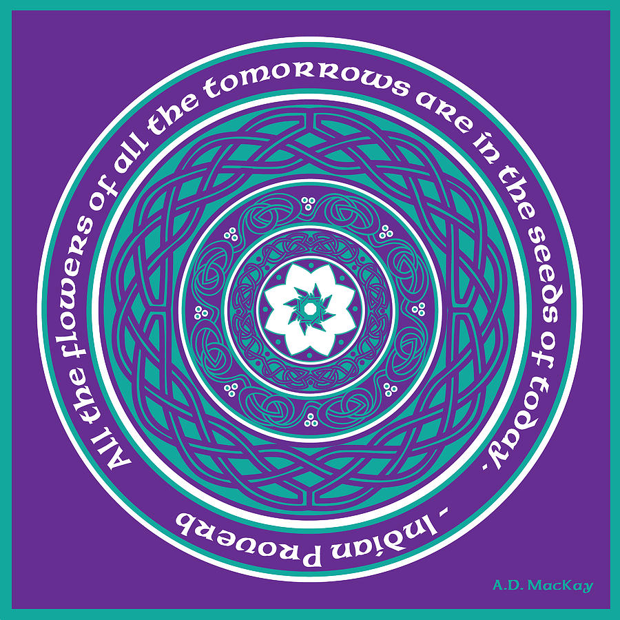 Knotwork Digital Art - Celtic Lotus Mandala in Teal and Purple by Celtic Artist Angela Dawn MacKay