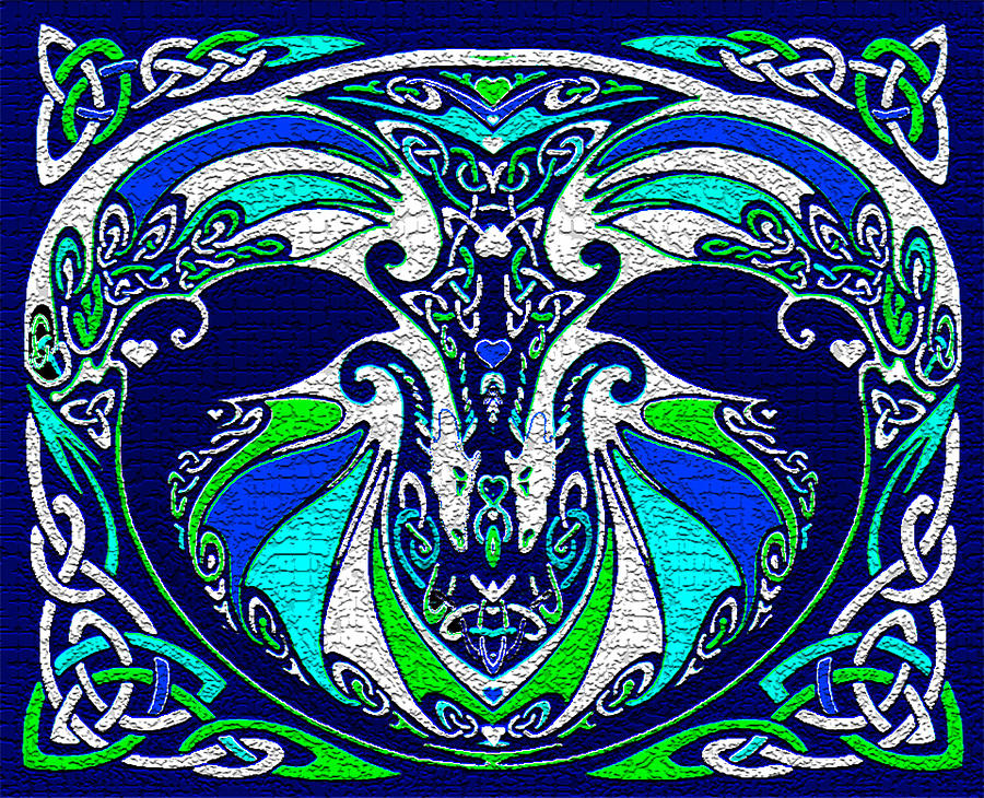 Celtic Love Dragons Digital Art