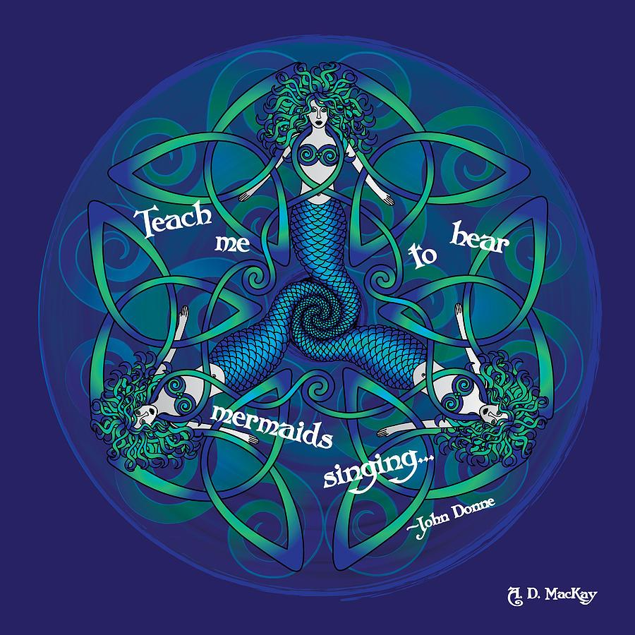 Celtic Spiral Digital Art - Celtic Mermaid Mandala in Blue and Green by Celtic Artist Angela Dawn MacKay