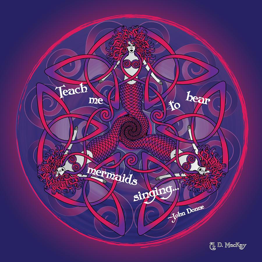 Celtic Spiral Digital Art - Celtic Mermaid Mandala in Pink and Purple by Celtic Artist Angela Dawn MacKay
