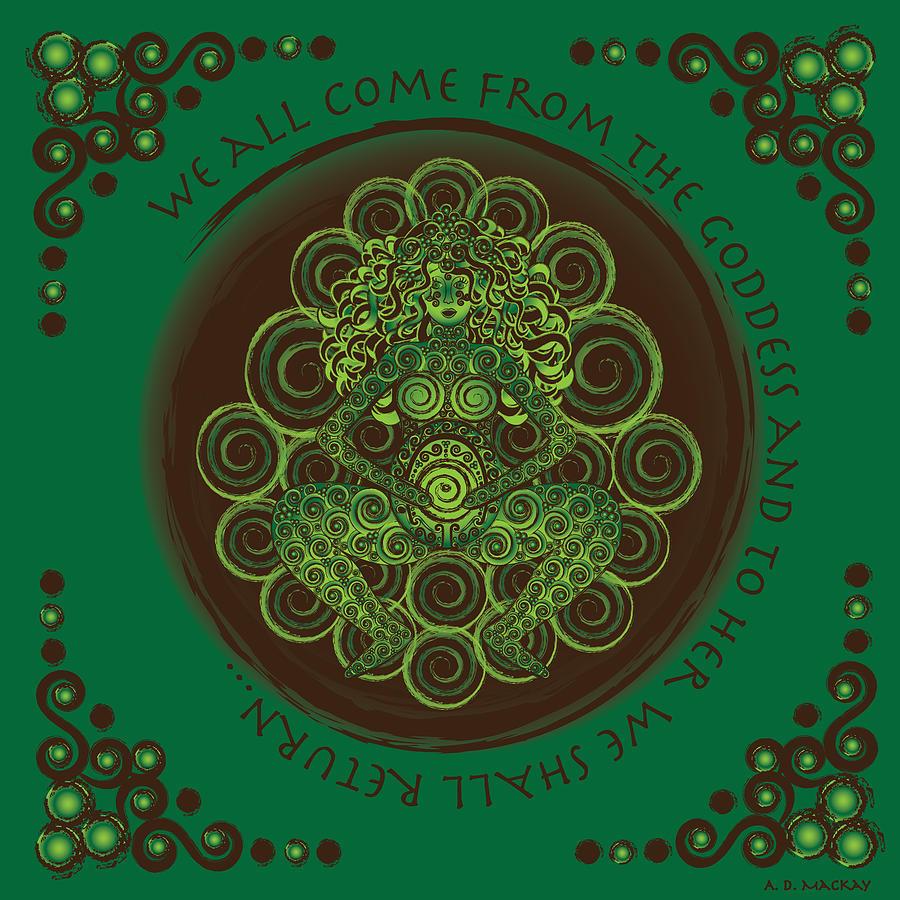 Celtic Digital Art - Celtic Pagan Fertility Goddess by Celtic Artist Angela Dawn MacKay