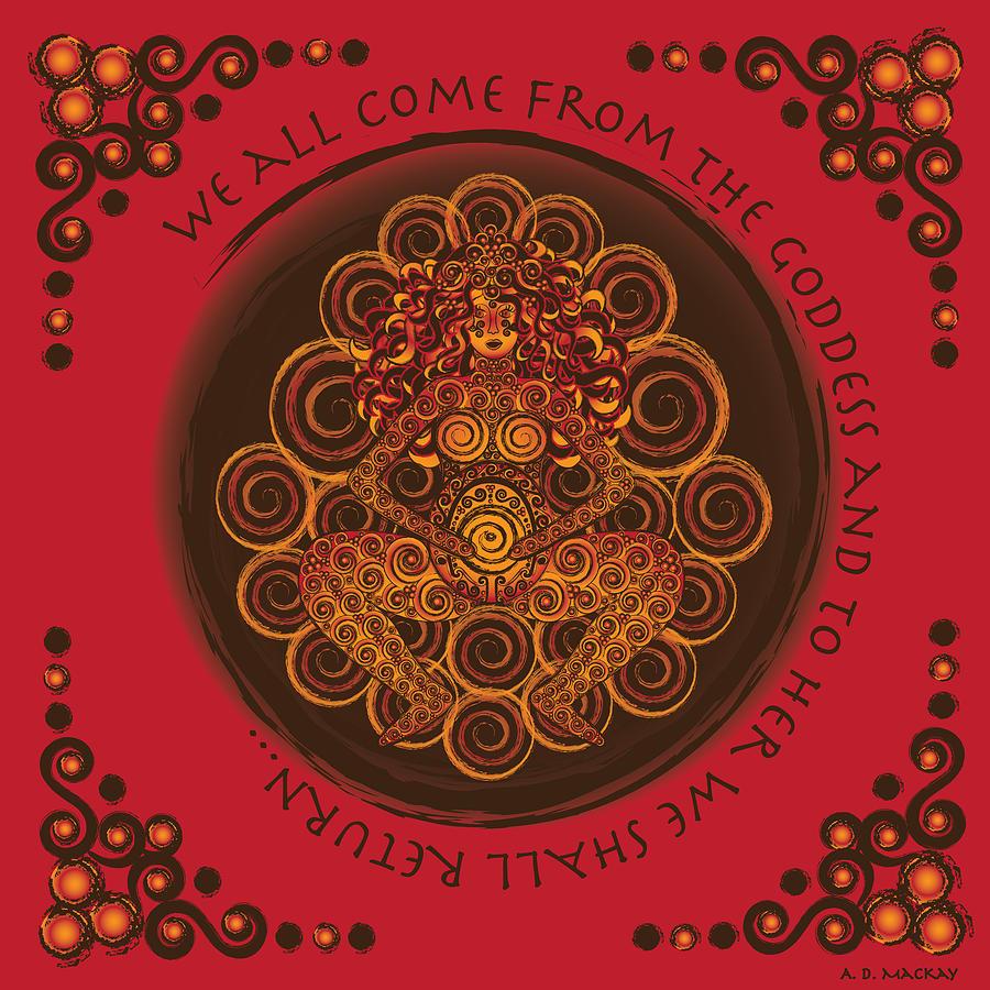 Celtic Digital Art - Celtic Pagan Fertility Goddess in Red by Celtic Artist Angela Dawn MacKay