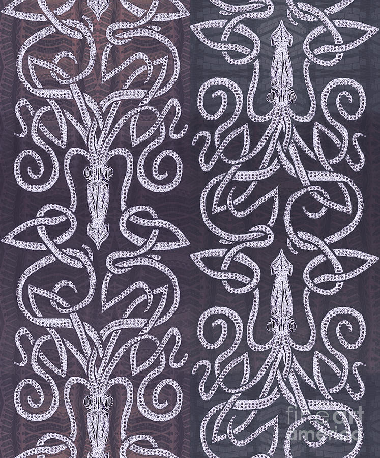 Celtic Knot Drawing - Celtic Plum Kraken by CR Leyland