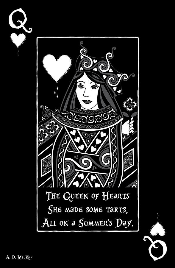 Queen Of Hearts Digital Art - Celtic Queen Of Hearts Part I In Black And White by Celtic Artist Angela Dawn MacKay