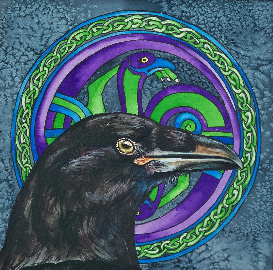 Celtic Painting - Celtic Raven by Beth Clark-McDonal