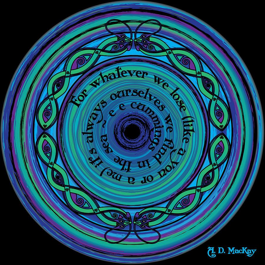 E E Cummings Digital Art - Celtic Sea Serpents by Celtic Artist Angela Dawn MacKay