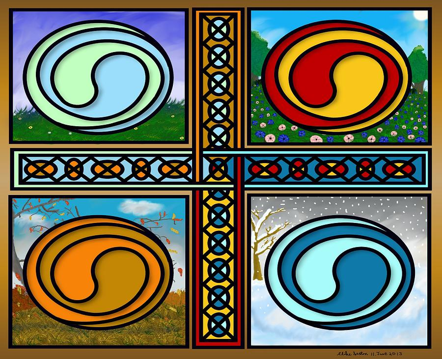 Celtic Knot Painting - Celtic Seasons by Mike Sexton