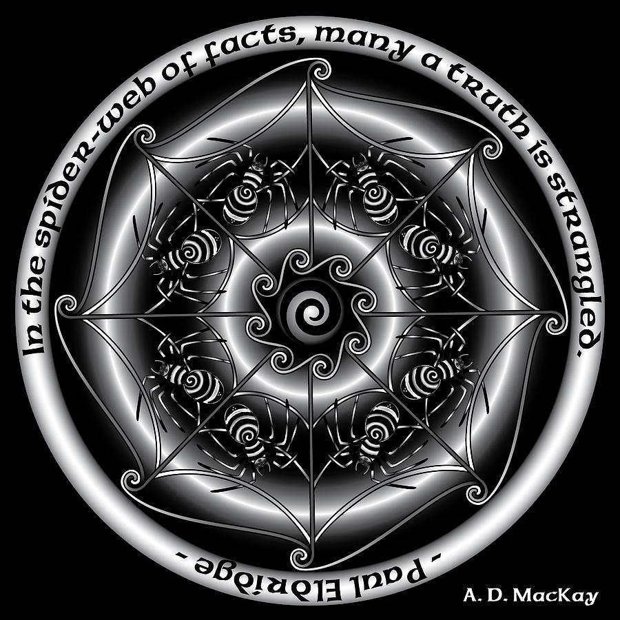 Knotwork Digital Art - Celtic Spider Mandala by Celtic Artist Angela Dawn MacKay