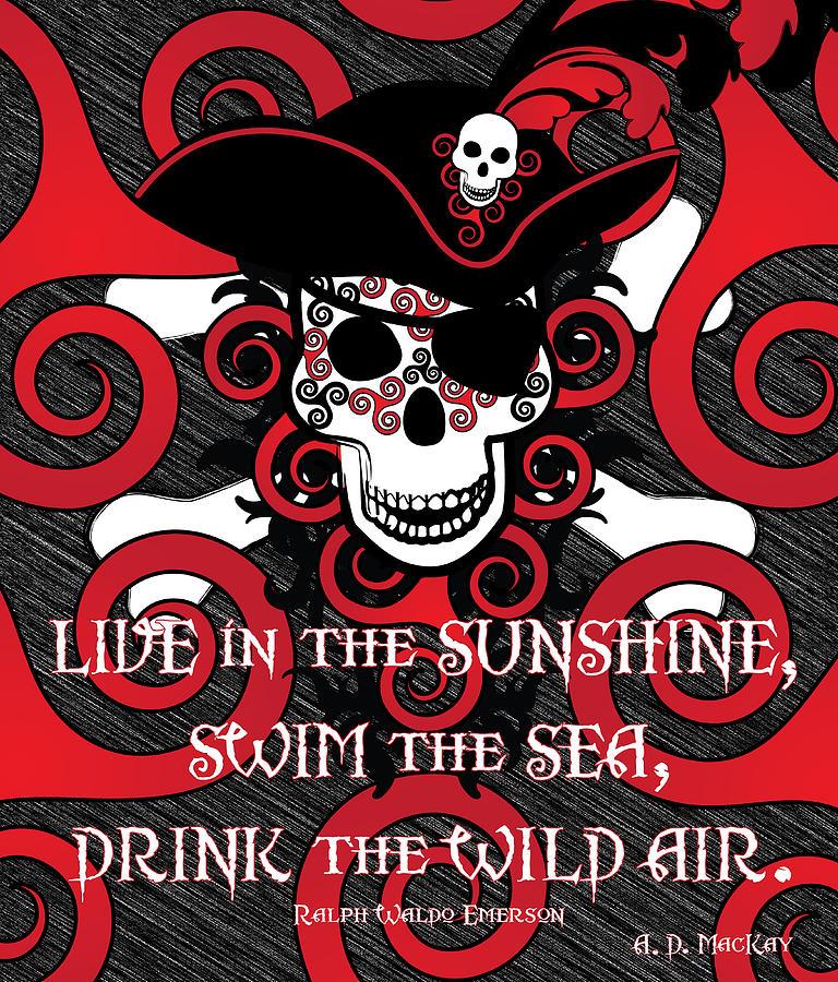 Pirate Digital Art - Celtic Spiral Pirate by Celtic Artist Angela Dawn MacKay
