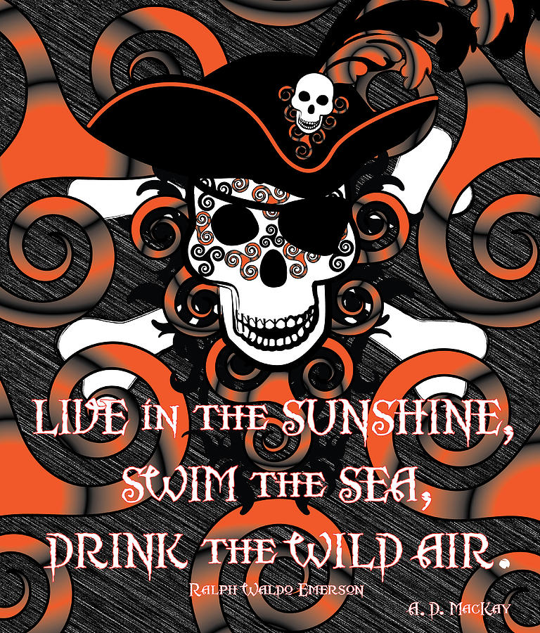 Pirate Digital Art - Celtic Spiral Pirate In Orange And Black by Celtic Artist Angela Dawn MacKay