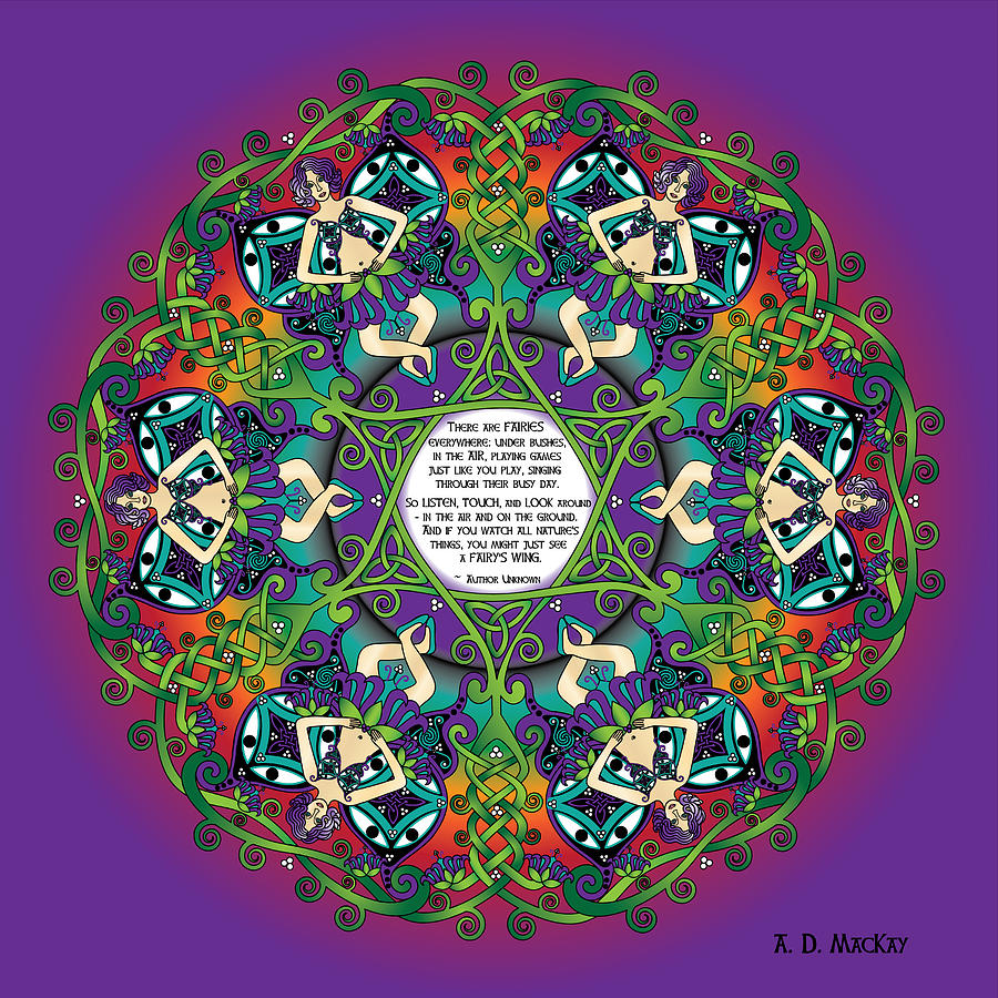 Celtic Spring Fairy Mandala by Celtic Artist Angela Dawn MacKay