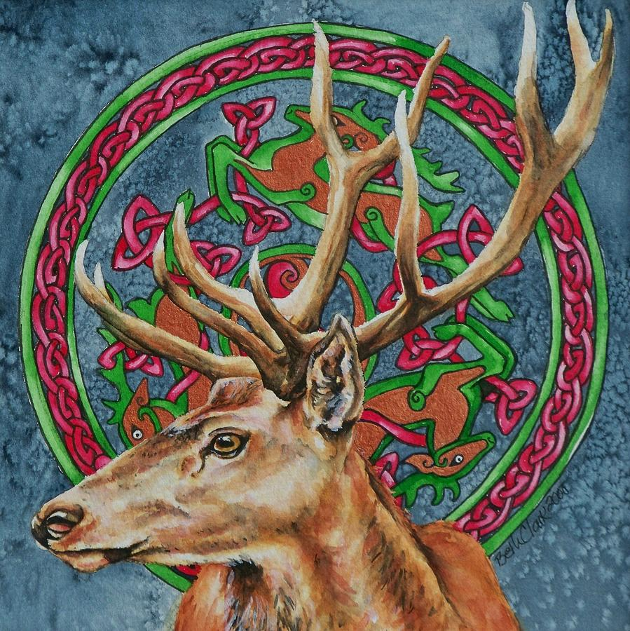 Celtic Painting - Celtic Stag by Beth Clark-McDonal