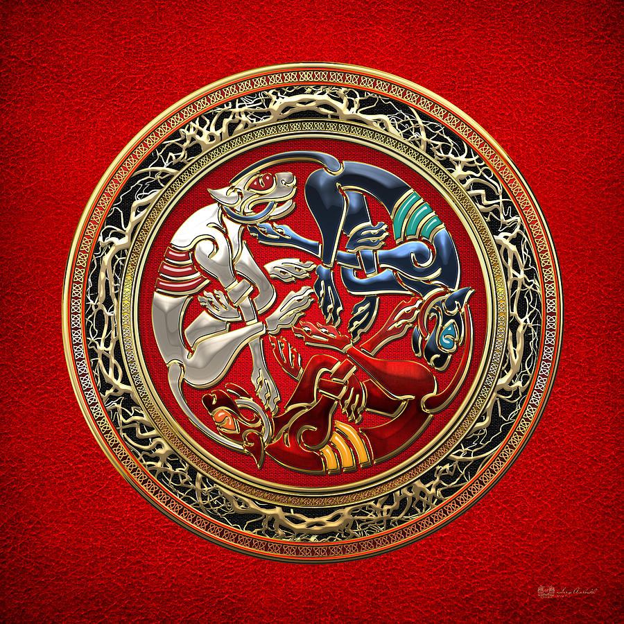 Celts Digital Art - Celtic Treasures - Three Dogs On Gold And Red Leather by Serge Averbukh