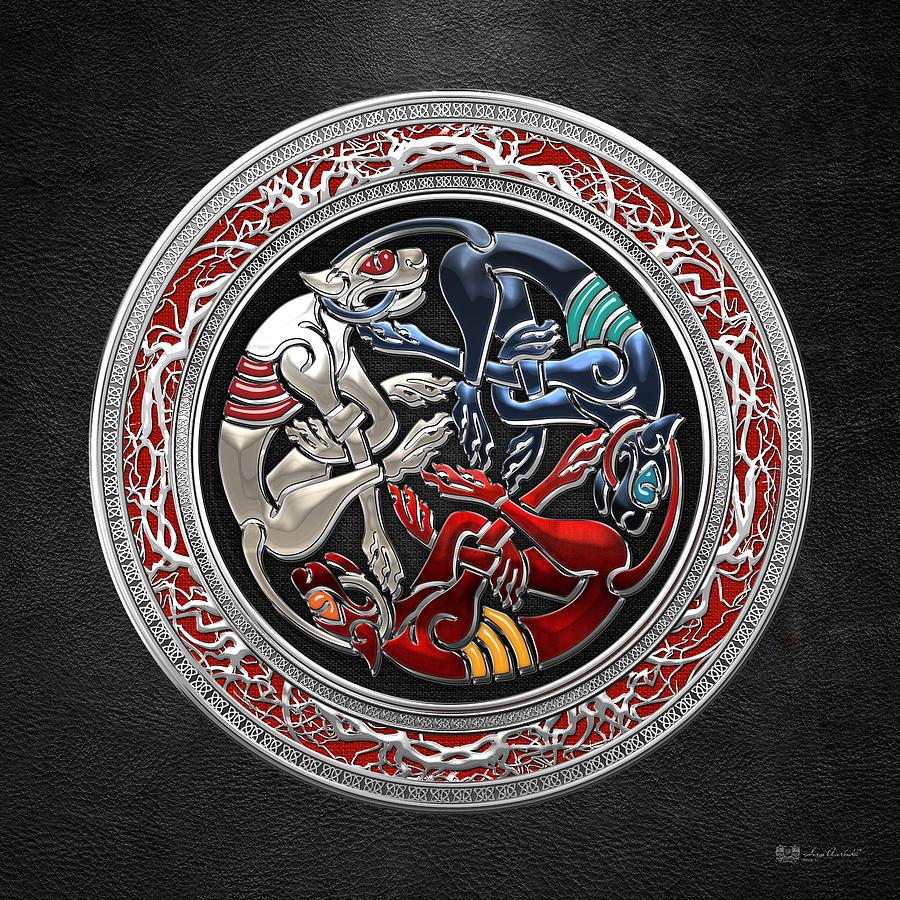 Vintage Digital Art - Celtic Treasures - Three Dogs On Silver And Black Leather by Serge Averbukh