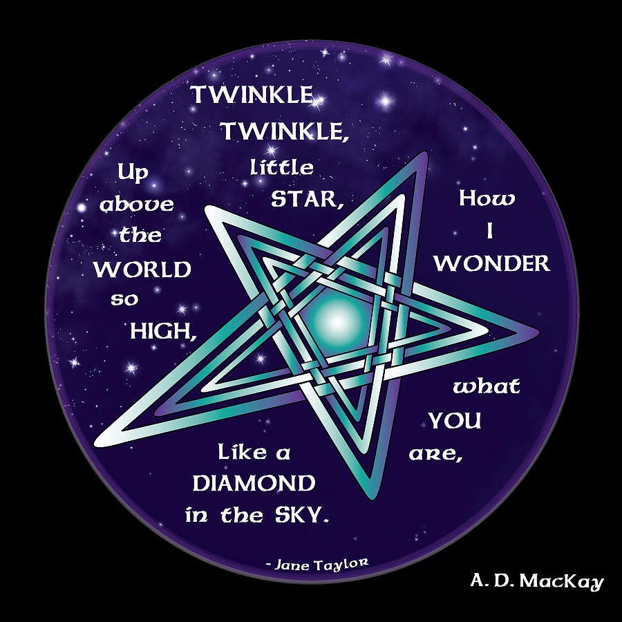 Star Digital Art - Celtic Twinkle Twinkle by Celtic Artist Angela Dawn MacKay