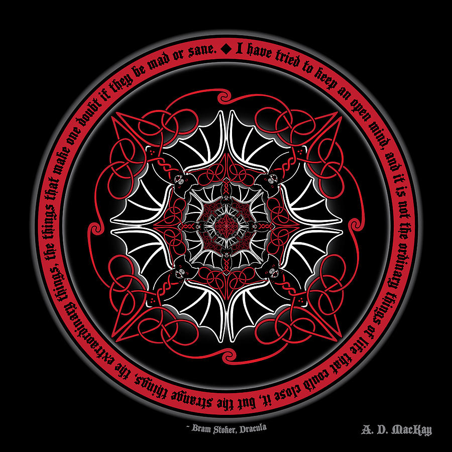Bram Stoker Digital Art - Celtic Vampire Bat Mandala by Celtic Artist Angela Dawn MacKay