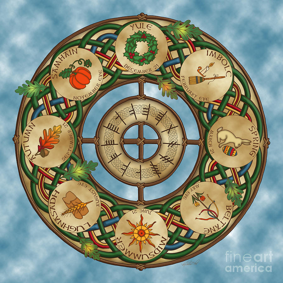 Celtic Calendar Wood : Celtic wheel of the year mixed media by kristen fox